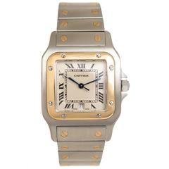 Cartier Yellow Gold Stainless Steel Santos Quartz Wristwatch