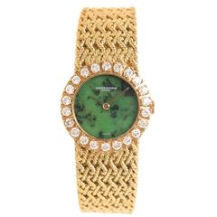 Vacheron Constantin Ladies yellow Gold Diamond Jadeite Dial Manual Wristwatch
