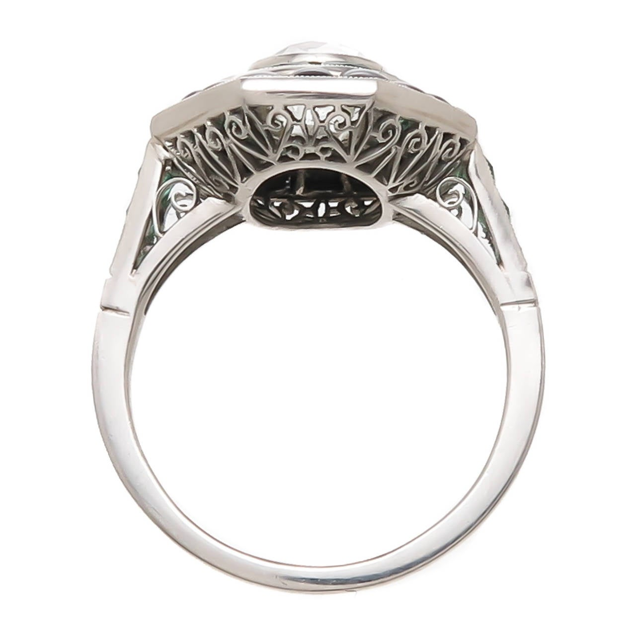 Cushion Cut Diamond Emerald Onyx Target Ring At 1stdibs