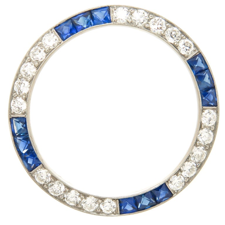 Oscar Heyman Platinum Diamond and Sapphire Circle Brooch