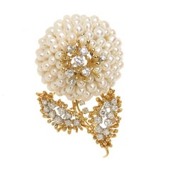 Kurt Wayne Large Gold Diamond and Pearl Flower Brooch