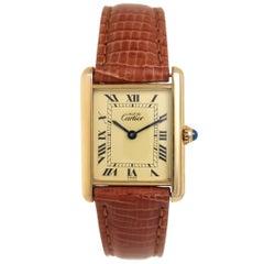 Cartier Classic Vermeil Tank Quartz Wristwatch