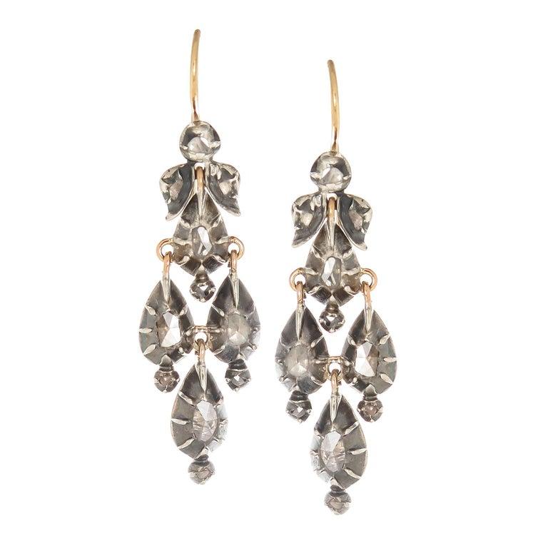 Georgian Silver Top Rose Cut Diamond Earrings