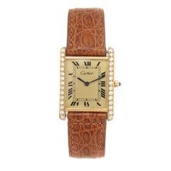 Cartier Classic Tank Vermeil Diamond Case Quartz Wristwatch