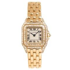 Cartier Ladies Yellow Gold Factory Diamond Panther Quartz Wristwatch