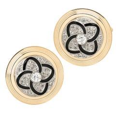 Cartier Diamond Platinum and Gold Cufflinks