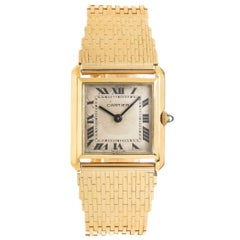 Cartier Yellow Gold Tank Bracelet manual wind Wristwatch, circa 1950