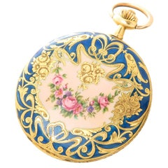 Didisheim yellow Gold Guilloche Enamel Large Covered Case Pocket Watch