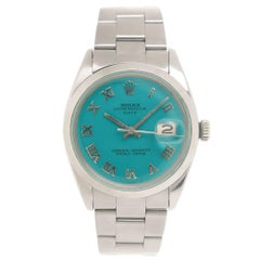 Rolex Stainless Steel Date Custom Color Dial Automatic Wristwatch