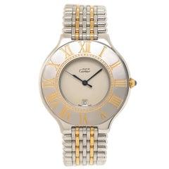 Cartier Yellow Gold Stainless Steel Must De Cartier 21 Quartz Wristwatch