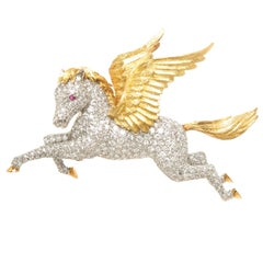 McTeigue Diamond Platinum and Gold Pegasus Brooch