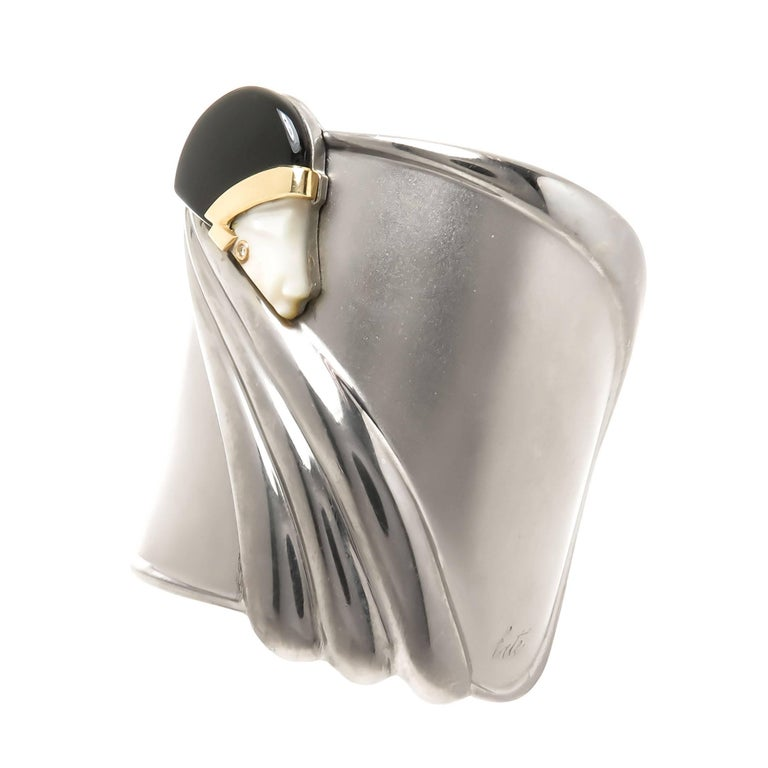 Erte Tempest Sterling And Gold Cuff Bracelet At 1stdibs