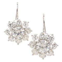"Harry Winston ""Sunflower"" Diamond and Platinum Earrings"
