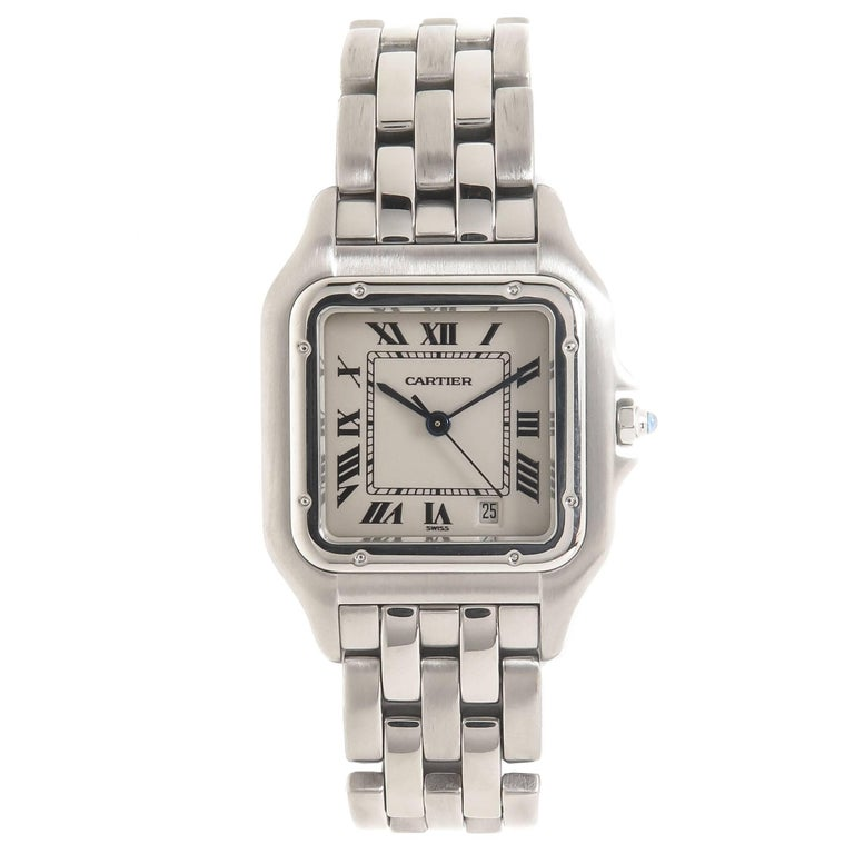 Cartier Stainless Steel Panthere Mid-Size Quartz Wristwatch For Sale
