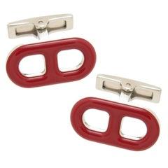Hermes Paris Red Enamel Cufflinks