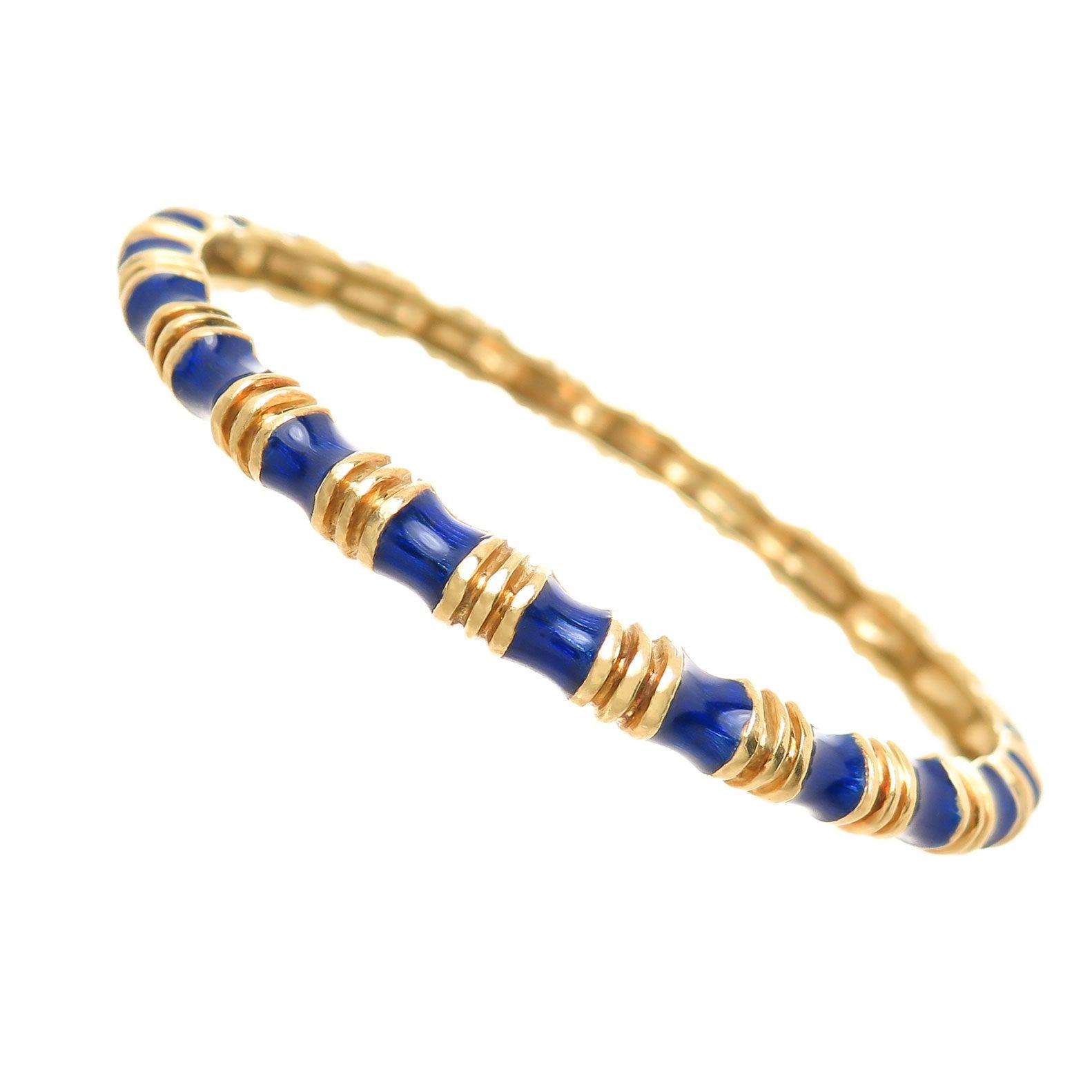 Tiffany & Co. Yellow Gold and Enamel Bangle Bracelet