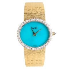 Piaget Ladies Yellow Gold Diamond Turquoise Manual Wristwatch