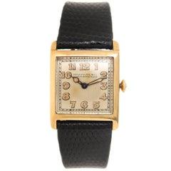 Patek Philippe Yellow Gold Tank Manual Wristwatch, circa 1920s