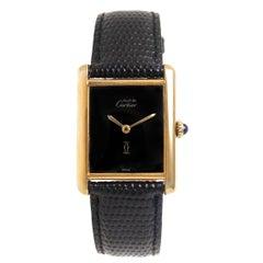 Cartier Gold Plate Sterling Silver Vermeil Tank Manual Wristwatch, circa 1990s