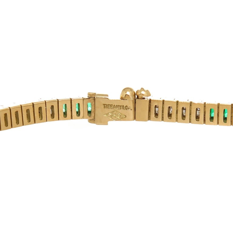 e2db95608 Tiffany & Co. Diamond Emerald Gold Line Bracelet In Excellent Condition For  Sale In Chicago