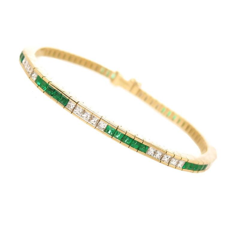 Tiffany & Co. Diamond Emerald Gold Line Bracelet For Sale