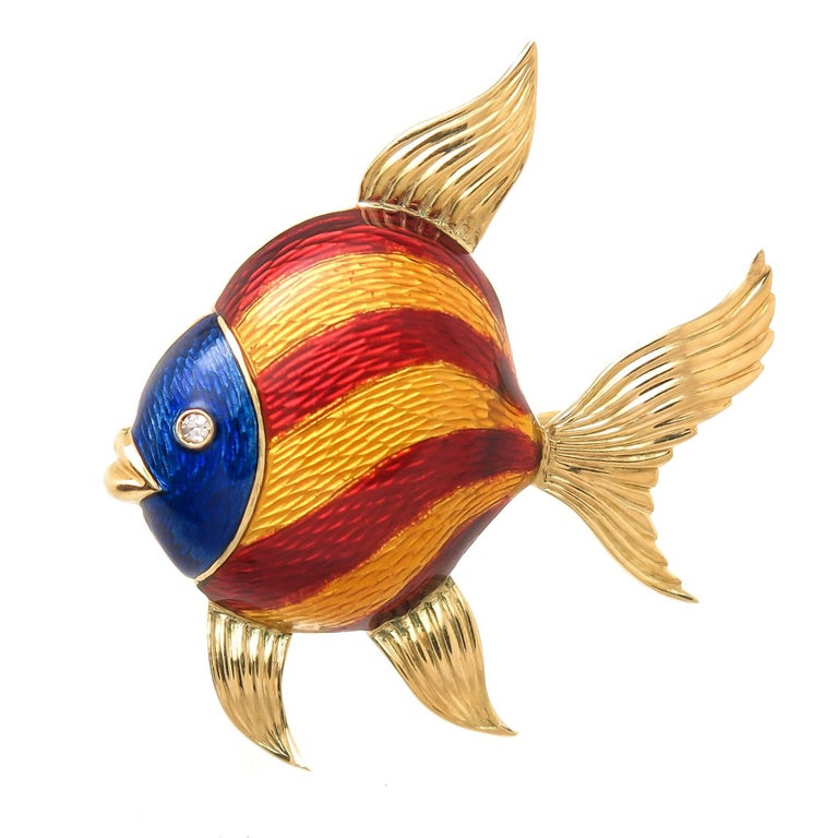 Tiffany & Co. Gold and Enamel Fish Brooch