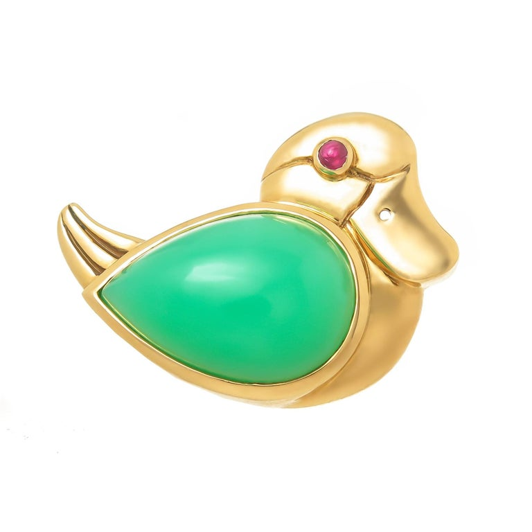 Tiffany & Co. Gold and Gem Set Duck Brooch