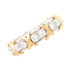 Tiffany & Co. Schlumberger Diamond Platinum Gold Classic Band Ring