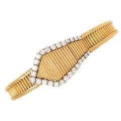 Patek Philippe Yellow Gold Diamond Covered Bracelet Wristwatch Ref 3266/80