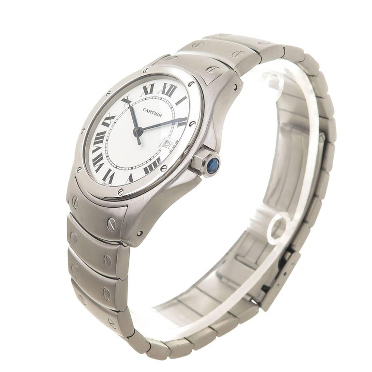 Circa 2005 Cartier Santos Ronde Wrist watch, 29.5 MM Stainless steel Water resistant Case,  quartz Movement, White Dial with Black Roman Numerals, sweep seconds hand, calendar window at the 3 position, scratch resistant crystal and a sapphire