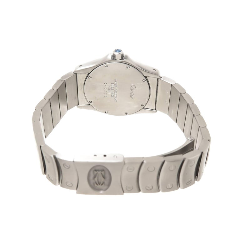 Cartier Stainless Steel Santos Ronde Mid Size Quartz Wristwatch In Excellent Condition For Sale In Chicago, IL