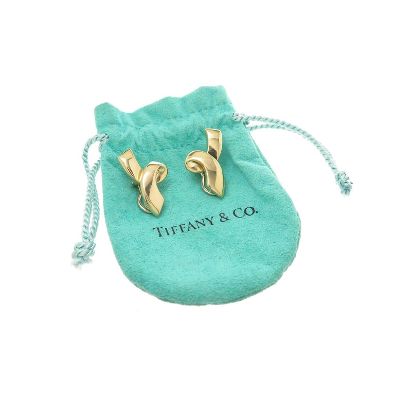 Tiffany & Co. Paloma Picasso Swirl Bow Yellow Gold Earrings 4