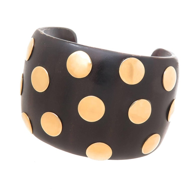 Exotic Wood and Gold Dots Cuff Bracelet