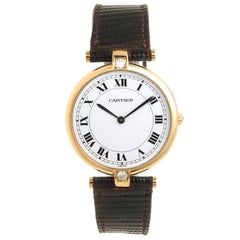 Cartier Yellow Gold Diamond Large Vendome Collection Quartz Wristwatch