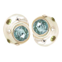Trianon Topaz and Gold Turbo Shell Earrings