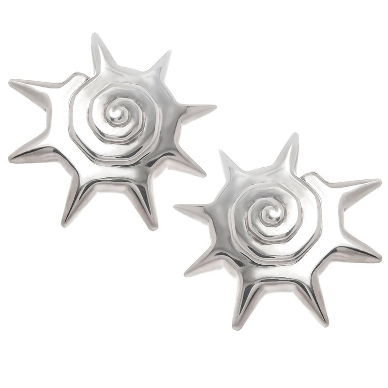 Tiffany & Co. 1980s Sterling Sun Burst Earrings