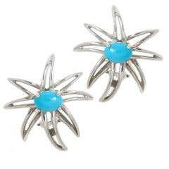 Tiffany & Co. Fireworks Turquoise Sterling Earclips