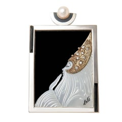 "Erte ""Beloved"" Gold Silver and Gem Set Pendant Brooch"