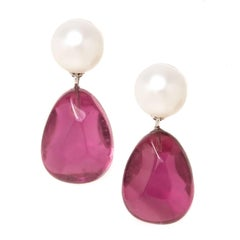 Tiffany & Co. Pearl Tourmaline Gold Earrings