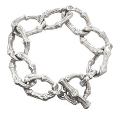Tiffany & Co. Sterling Silver Bamboo Heavy Link Bracelet