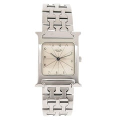 Hermes H-Stainless Steel Mid Size Quartz Wristwatch