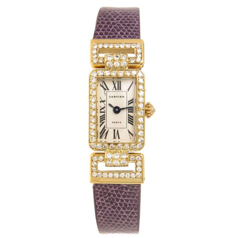 Cartier Ladies Yellow Gold Diamond Set Quartz Wristwatch