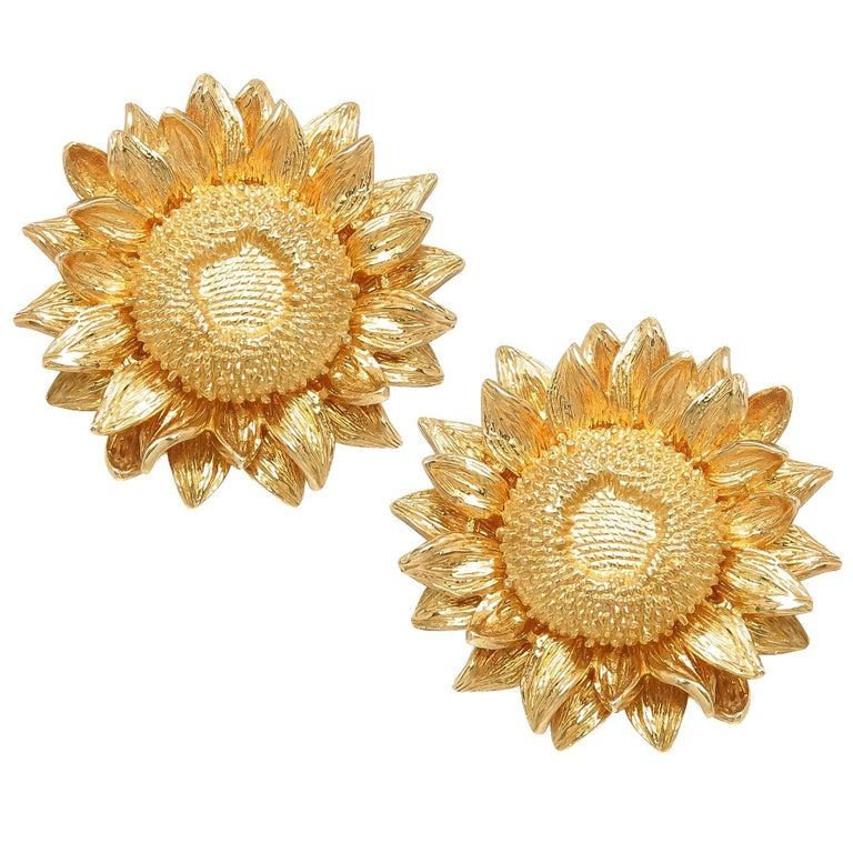 Asprey yellow gold sun flower earrings at 1stdibs asprey yellow gold sun flower earrings for sale mightylinksfo