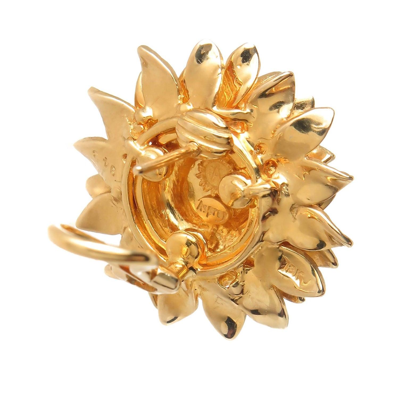 Asprey Yellow Gold Sun Flower Earrings At 1stdibs