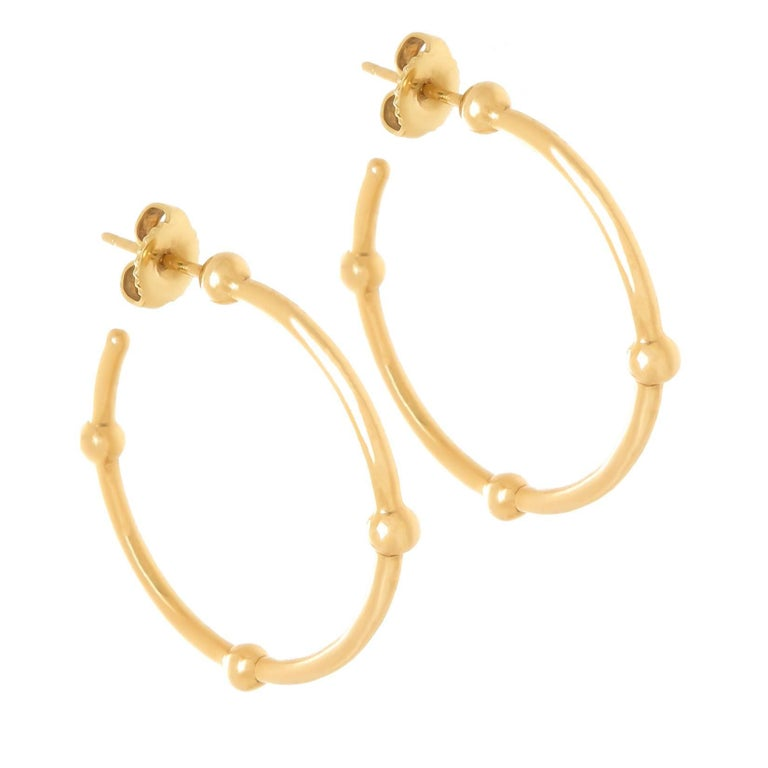 Tiffany Co Yellow Gold Hoop Earrings For