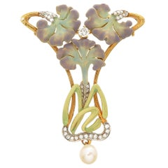Masriera Enamel Gem Set Gold Art Nouveau Style Brooch Pendant