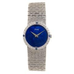 Piaget Ladies White Gold Diamond Sapphire and Lapis Dial Manual Wind Wristwatch