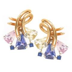 Oscar Heyman Retro Multi-Color Sapphire Gold Earrings