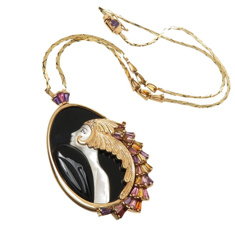 Erte Beauty and the Beast Gold and Gem Set Necklaces For Sale
