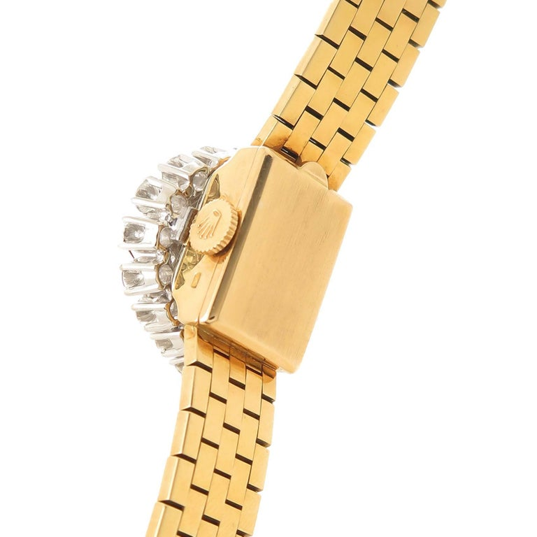 Women's Rolex Ladies Yellow Gold Diamond Covered Bracelet manual Wristwatch For Sale